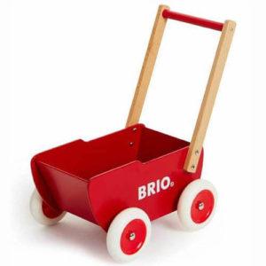 Brio træ dukkevogn i rød