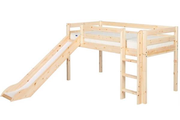 Flexa Classic seng med rutschebane og lakeret fyrretræ