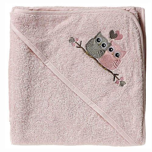 Baby dan babyhåndklæde med love birds i rosa og blå