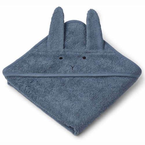 Blå Liewood badehåndklæde til baby med kanin