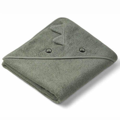 Liewood dino økologisk badehåndklæde i grøn farve