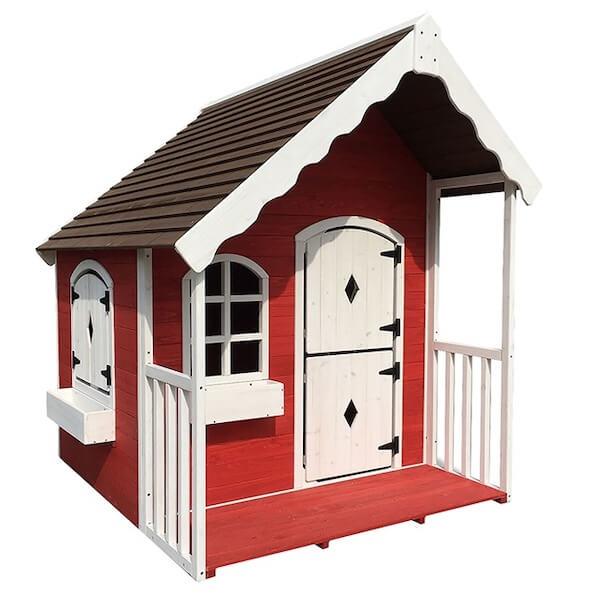 Nordic Play bedste legehus i træ rød-hvid