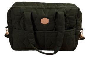 Fillibaba mørkegrøn mommybag taske i quilt mønster